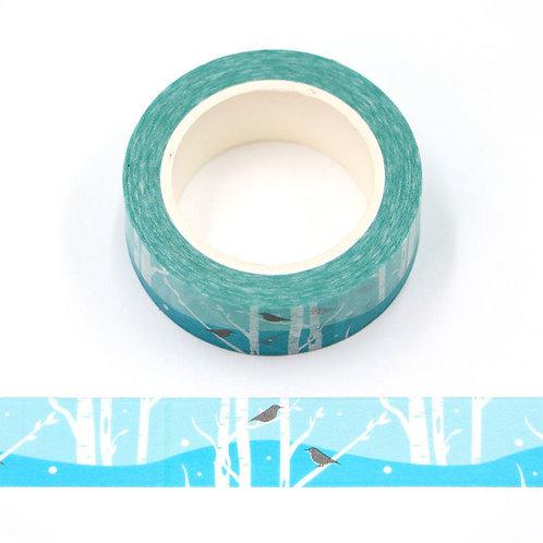 Masking tape 15 mm motif forêt bleue hivernale