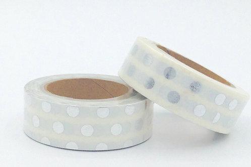 F051 - Masking tape foil blanc pois argentés