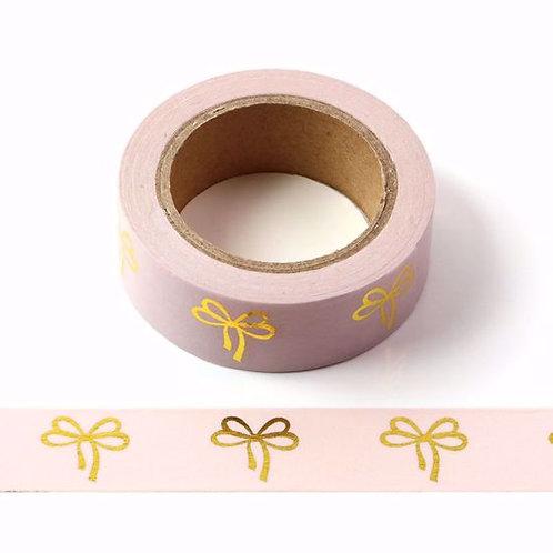 F105 - Masking tape métallique 15mm foil rose pâle noeuds dorés
