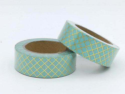 F104 - Masking tape foil vert pâle quadrillage doré