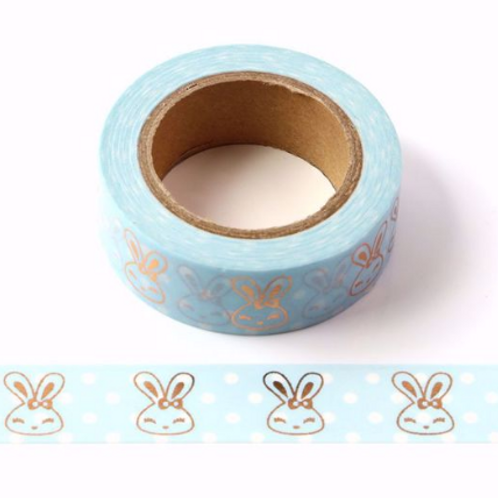 Masking tape métallique bleu lapins cuivrés