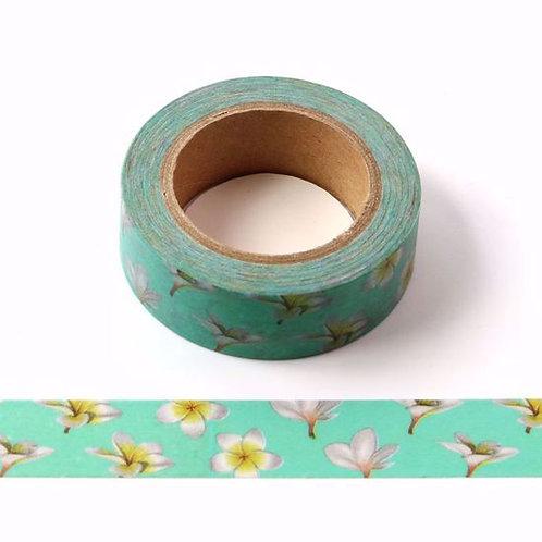 W465 - Masking tape  10m vert fleurs de vanille