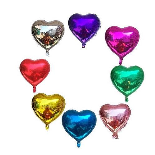 Ballon mylar géant coeur 45 cm  hélium rouge argent or rose clair bleu violet