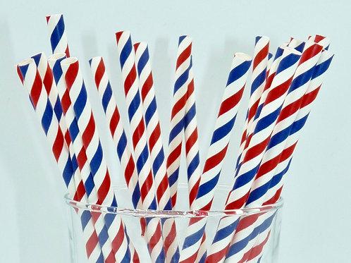25 pailles papier chevrons rayure bleue et rouge  anniversaire candy
