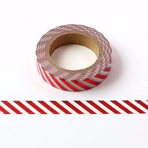 Masking tape foil blanc rayures rouges 10mm x 10m