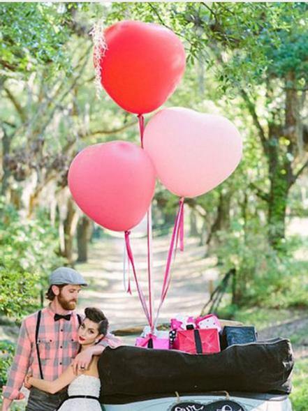 Ballon Coeur latex Géant 90 cm rose poudré, rouge ou blanc