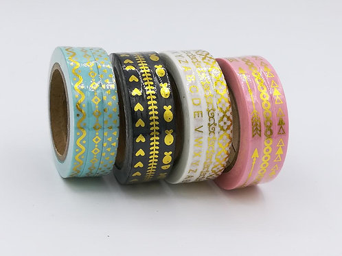 3 Masking tape foil or fin 5mmx10m  I 3 Thin gold washi green black pink white