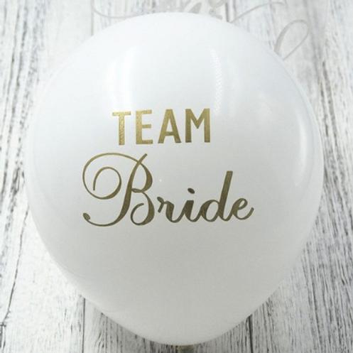 10 Ballons latex blanc Team Bride or 30cm  fête soirée evjf mariage