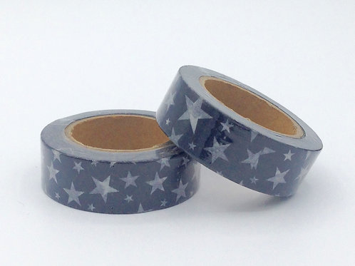 W272-  Masking tape noir étoiles blanches