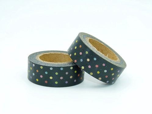 W029 - Masking tape noir pois colorés