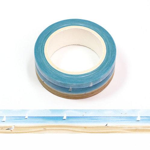 Masking tape motif plage et voiliers  15mm x 10m