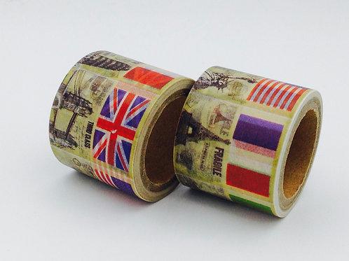 W301 - Masking tape drapeaux US IT UK FR