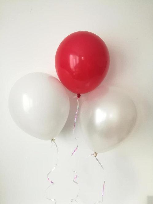 10 Ballons latex rouge blanc perle 30cm  fête soirée anniversaire saint valentin