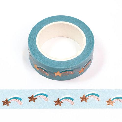 Masking tape  métallique 15 mm motif étoile filante