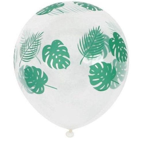 10 Ballons de baudruche transparents avec feuille de palmier, monstera