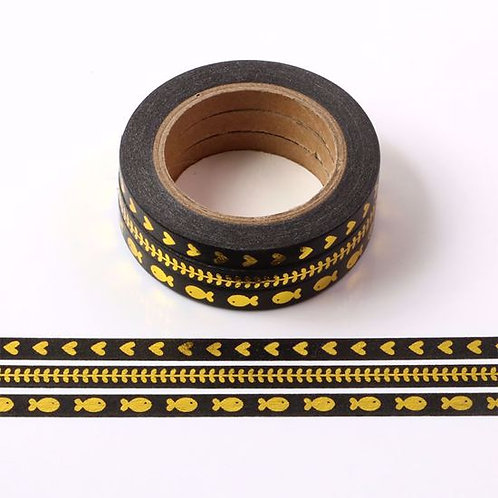 F113-  3 Masking tape foil noir fin 5mmx10m flèche I 3 Thin black washi tape