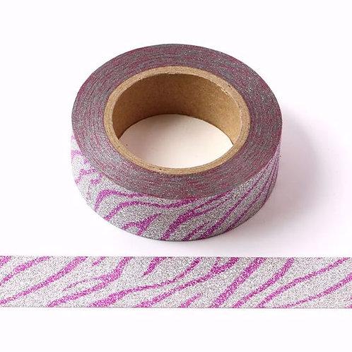 Masking tape paillettes argent motif rose glitter 15MM X 10M