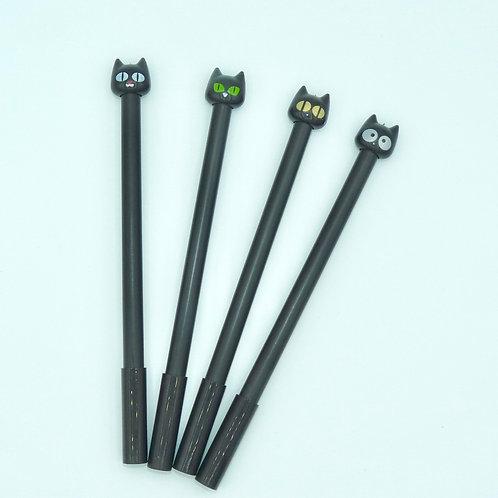 4 Stylos Chats - encre noir pointe gel fine