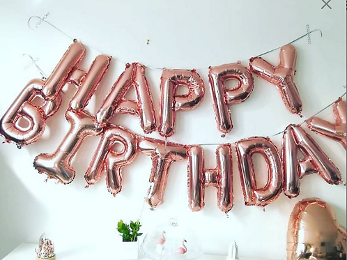 Ballons Happy Birthday Rose Gold Banner balloons