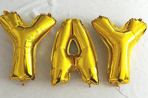 Ballons bannière YAY Mylar dorée or suspension célébration hélium fête