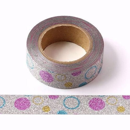 Masking tape  paillettes glitter argent pois acidulés 15mm x 10m