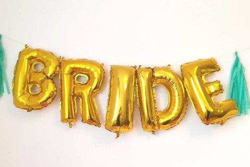 Ballons bannière Bride Tribe Mylar dorée or suspension evjf mariage