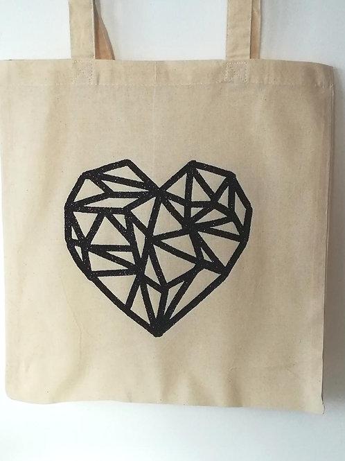 Tote bag coeur noir origami