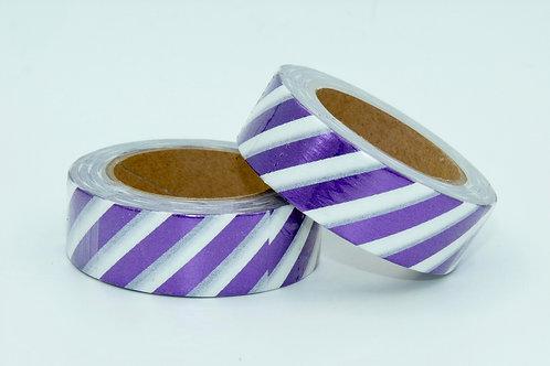F101 - Masking tape foil blanc rayures violettes