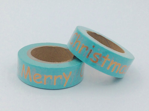 Masking tape bleu Merry Christmas doré design  15m x 10m