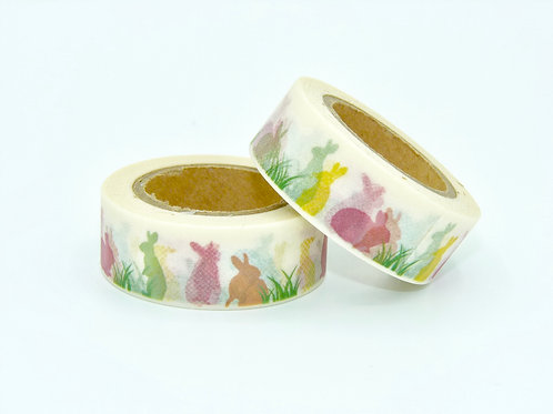 W122-  Masking tape lapins colorés enfant design  15m