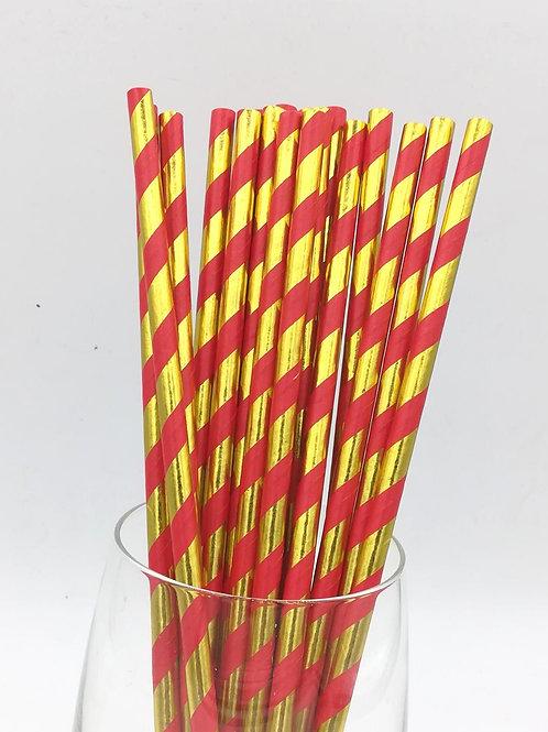 25 pailles papier rayures dorées métalliques et rouges