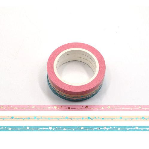 Pack de 3 masking tape fins étoiles pastels F157
