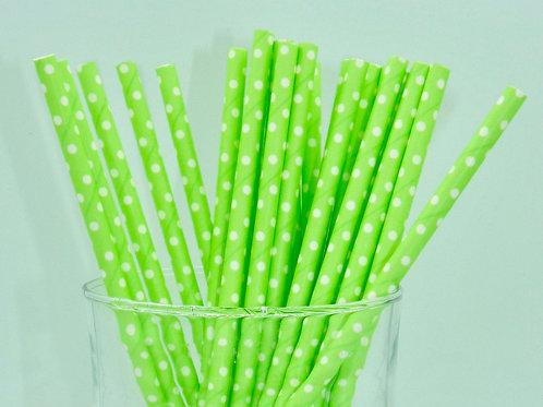 25 pailles papier vert néon pois blanc  anniversaire candy