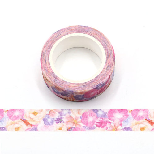 Masking tape paillettes fleurs été roses  glitter 15mm x 3m