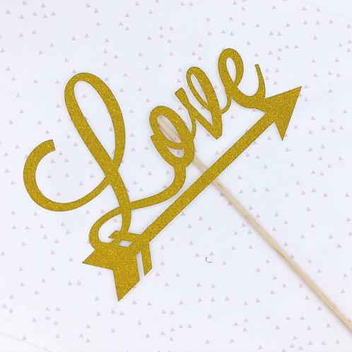 Love Cake Topper glitter flèche mariage fiançailles