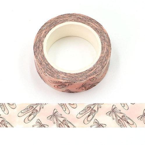 Masking tape 15 mm motif chaussons de ballet