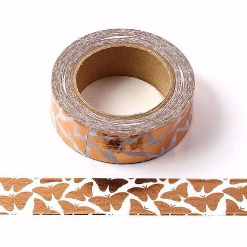 F094- Masking tape métallique 15mm foil blanc papillons cuivre
