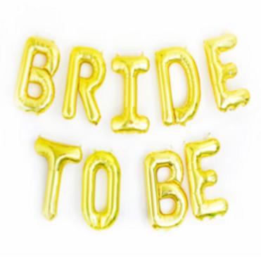 """Bannière 9 Ballons Mylar """"Bride to be"""" dorée"""