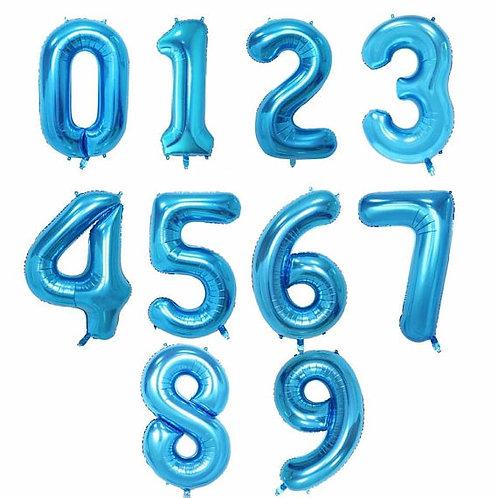 Ballon chiffre mylar bleu  100 cm bannière suspension