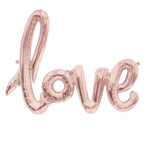 Ballon mylar love taille 108 x 63 cm rose doré cuivre