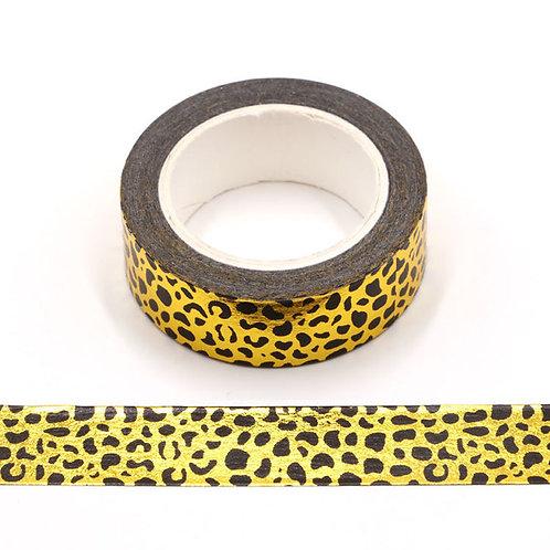 Masking tape métallique léopard doré et noir F153