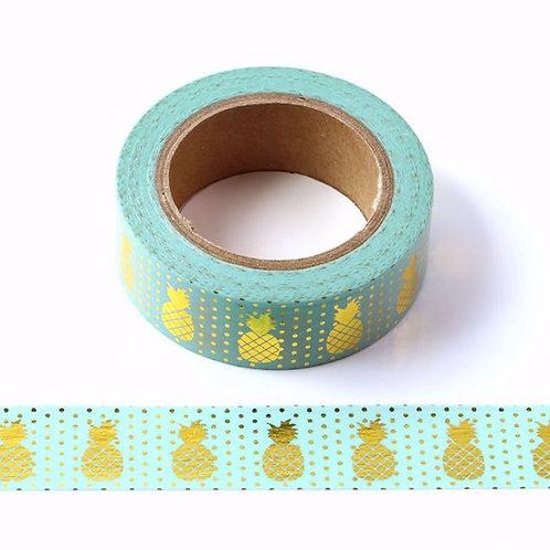 F058 - Masking tape foil métallique 15mm vert ananas doré