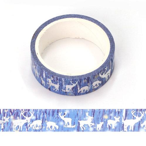 Masking tape métallique bleu forêt rêne holographique15mm x 5mm
