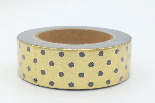 F018 - Masking tape Foil doré pois noirs