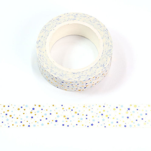 F178 - Masking tape métallique motif petites étoiles