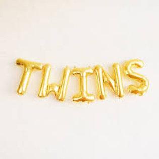 Ballons bannière twins jumeaux Mylar dorée or suspension babyshower