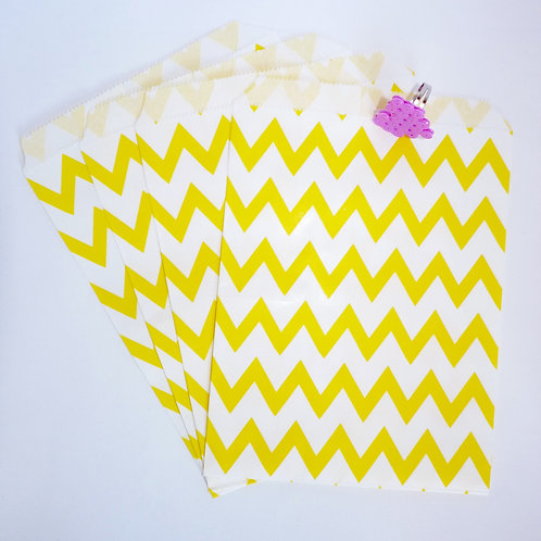 Lot de 12 sachets papiers chevrons jaune candy bar