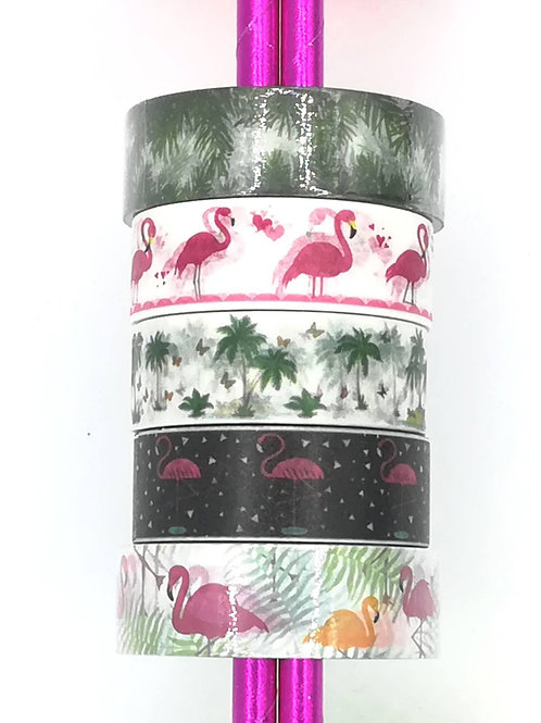 5 Masking tape jungle flamingo flamant rose palmier I 5 washi tape flamingo