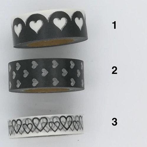 Masking tape blanc coeurs noirs I Black and white hearts washi tape