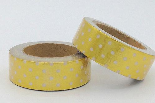 F017 - Masking tape doré pois blancs